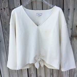 NWT Madewell Texture & Thread Tie Front Top L